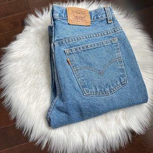 Vintage Orange tab light wash Levi's jeans